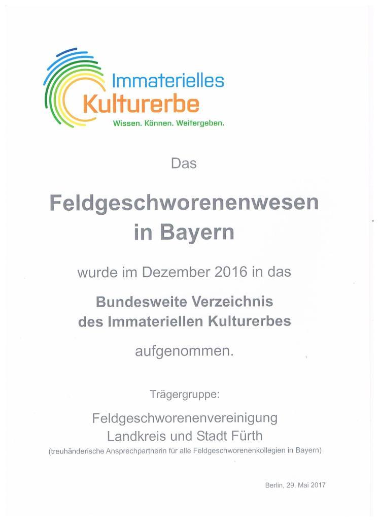 Urkunde Bundesweites des Verzeichnis Immaterielles Kulturerbe, 29.5.2017
